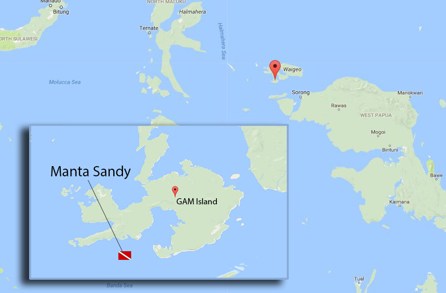 Manta Sandy Raja Ampat Map