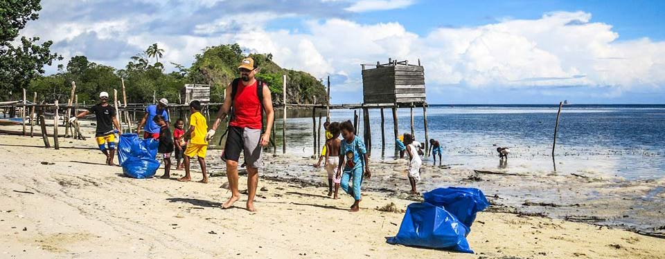 Papua Paradise Eco resort do Beach clean up in Raja Ampat