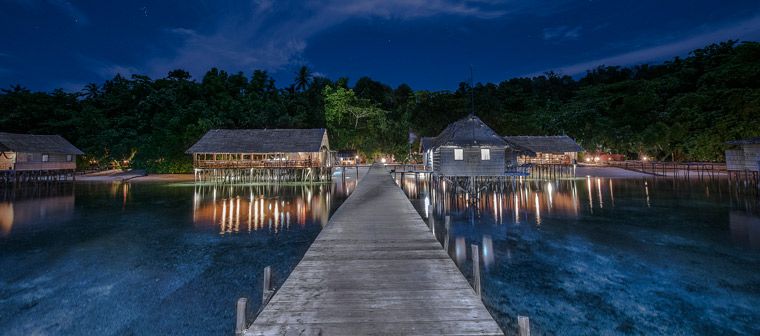Papua-Paradise Eco Resort in Raja Ampat at Night