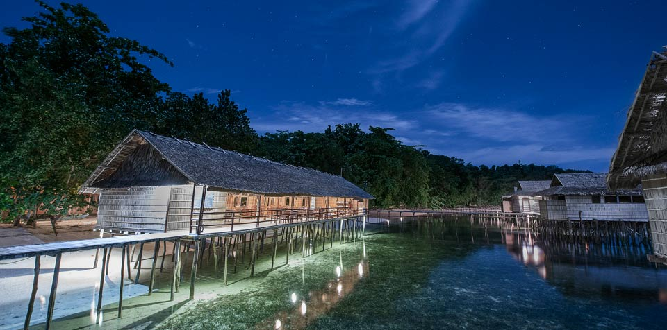 Diving In raja ampat and see Papua Paradise resort at nigh view