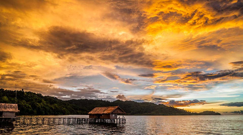 Sunset when snorkeling and diving in Raja Ampat