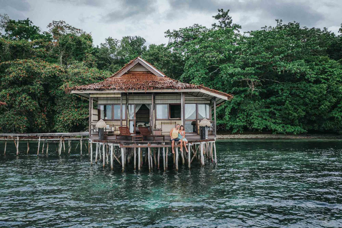 Overwater bungalow at Papua Paradise
